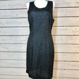 VTG Intricate Beading Laurence Kazer Silk Dress
